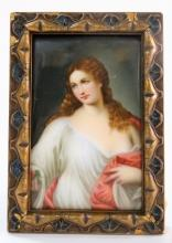 ANTIQUE PORCELAIN HAND PAINTED PORTRAIT PLAQUE