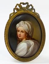 ANTIQUE PORTRAIT PORCELAIN PLAQUE OF YOUNG WOMAN