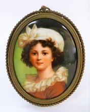 ANTIQUE PORCELAIN HP PORTRAIT PLAQUE 'LEBRUN'