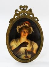 ANTIQUE PORCELAIN PORTRAIT PLAQUE LADY W/ CANDLE