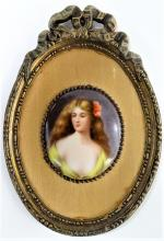 ANTIQUE PORCELAIN PORTRAIT PLAQUE OF A BEAUTY