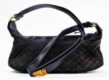 VTG JUDITH LEIBER BLACK LEATHER & SUEDE HANDBAG