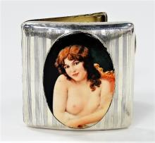 ENGLISH STERLING CIGARETTE CASE W/NUDE PORTRAIT