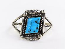 NAVAJO RHY STERLING SILVER & TURQUOISE INLAID CUFF