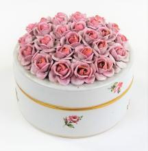 ANTIQUE VON SCHIERHOLZ GERMAN PORCELAIN ROSE BOX