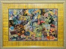 LARGE SIGNED FRAMED MONTAGE COLLAGE ART