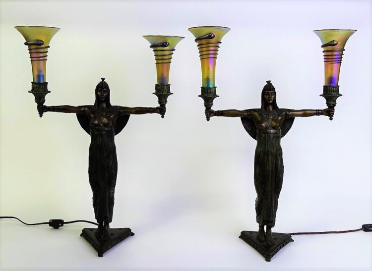 French Art Deco Bronze Table Lamps Signed Picault