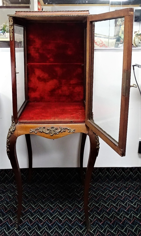 Antique Bronzed Cherry Oak Red Velvet Display Case