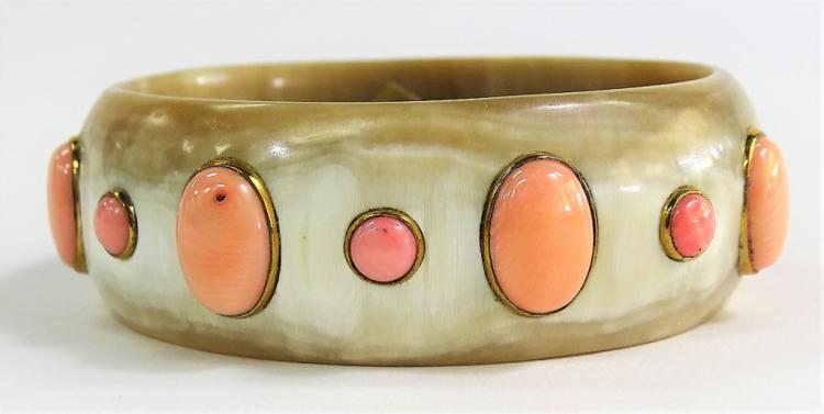 Ashley Pittman Winda Coral Bone Bangle Bracelet
