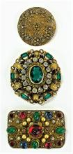 LOT OF 3 CZECH DECO PERIOD COSTUME BROOCHES