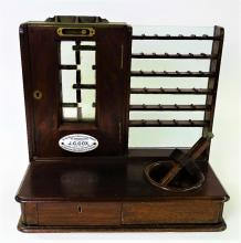 J.C. COX MAHOGANOY POST OFFICE COIN REGISTER