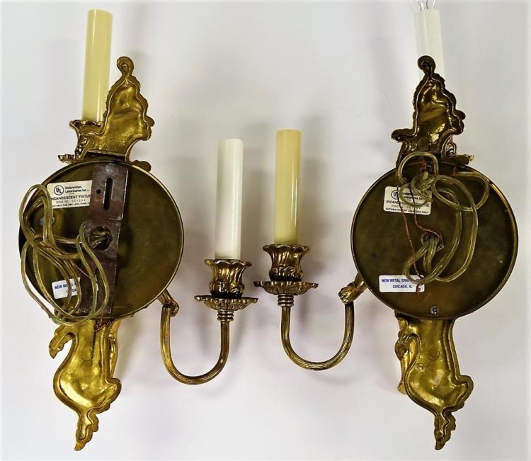 Brass Cherub Wall Sconces : PAIR OF BRASS CHERUB WALL SCONCES