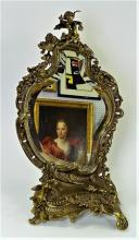 VINTAGE LARGE BRONZE GILDED MIRROR WITH CERUBS