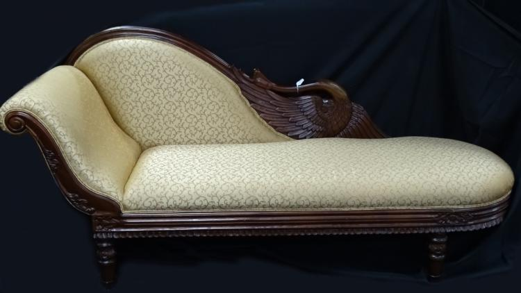 Victorian wooden hand carved divan fainting couch for Victorian divan