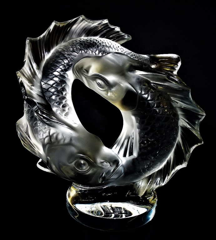 Lalique 39 deux poissons 39 crystal koi fish sculpture for Coy poisson