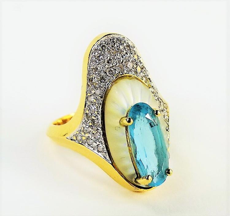 erte 14kt yg aquamarine alouette cocktail ring