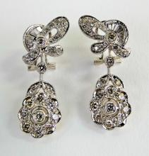 PR LADIES 18KT WHITE GOLD FLORAL DROP EARRINGS