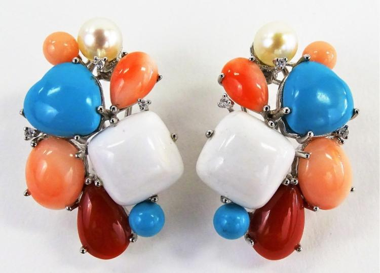 PR LADIES 14KT WG CORAL TURQUOISE & PEARL EARRINGS