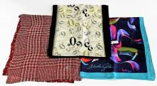 LOT OF 3 DESIGNER SILK SCARVES & POCKET SQUARES