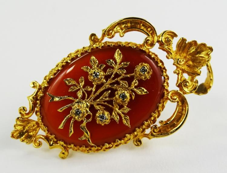LADIES VICTORIAN 9KT YG CARNELIAN & DIAMOND BROOCH