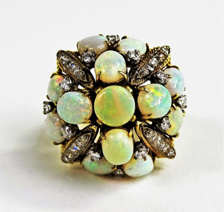 LADIES 18KT YG OPAL & DIAMOND COCKTAIL RING