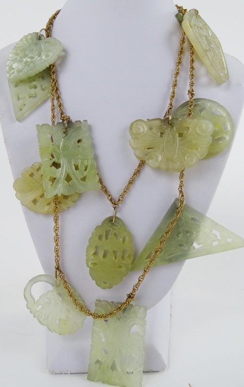 3PC CHINESE 14KT YG & PIERCED JADE JEWELRY SUITE