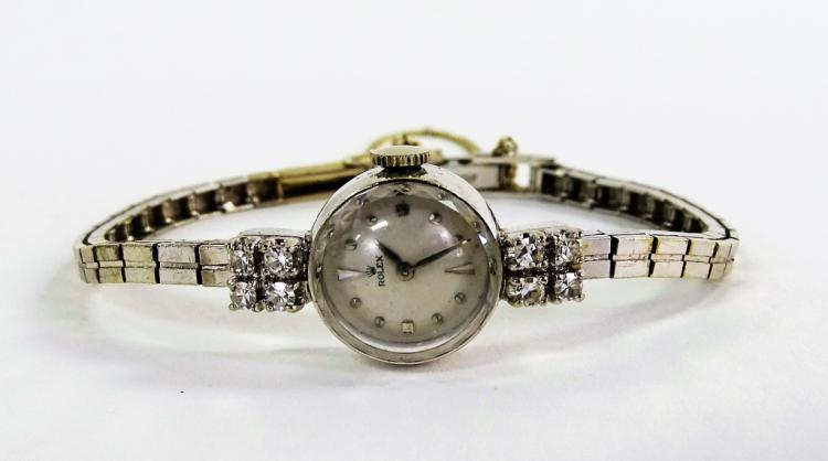 LADIES VINTAGE 14KT WG ROLEX DIAMOND DRESS WATCH