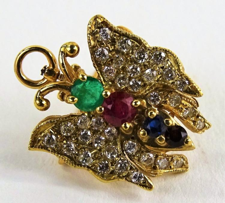 LADIES VTG 14KT YG ENCRUSTED BUTTERFLY PIN/PENDANT
