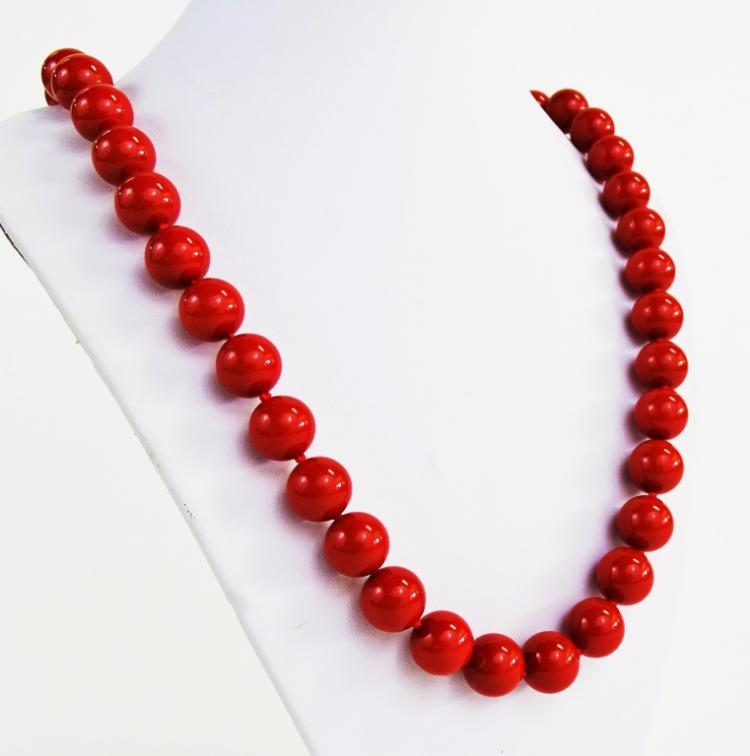 LADIES VTG SINGLE STRAND TREATED CORAL NECKLACE