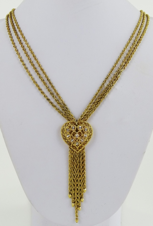 LADIES VTG 10KT YG TRIPLE STRAND HEART NECKLACE