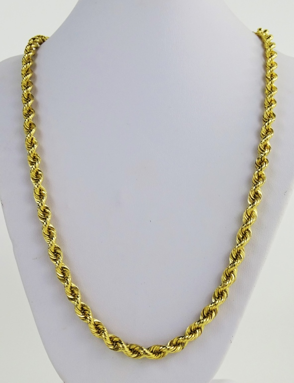 LADIES VINTAGE 14KT YG ROPE CHAIN NECKLACE
