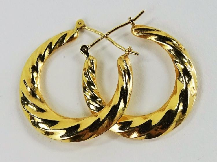 PR LADIES 14KT YELLOW GOLD HOOP EARRINGS