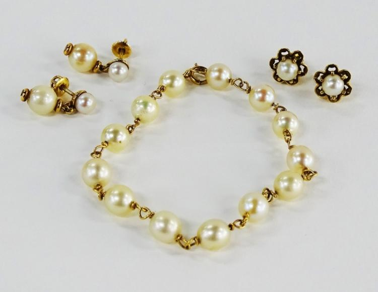 5PC VINTAGE 14KT YG & PEARL JEWELRY SUITE