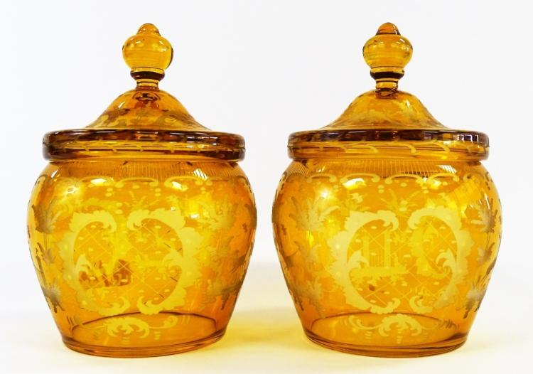 PR ETCHED AMBER CUT TO CLEAR BOHEMIAN GLASS JARS