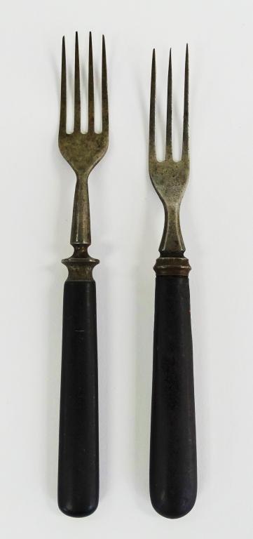 PR MID 19TH C. COIN SILVER & EBONY HANDLE FLATWARE