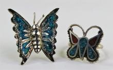 VTG STERLING & STONE INLAY BUTTERFLY RING & PIN