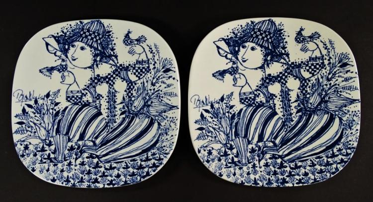 PAIR MID C. BJORN WIINBLAD FOR NYMOLLE PLATES