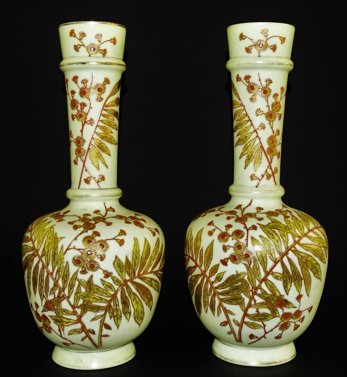 PAIR OF VINTAGE FLORAL CASED GLASS VASES