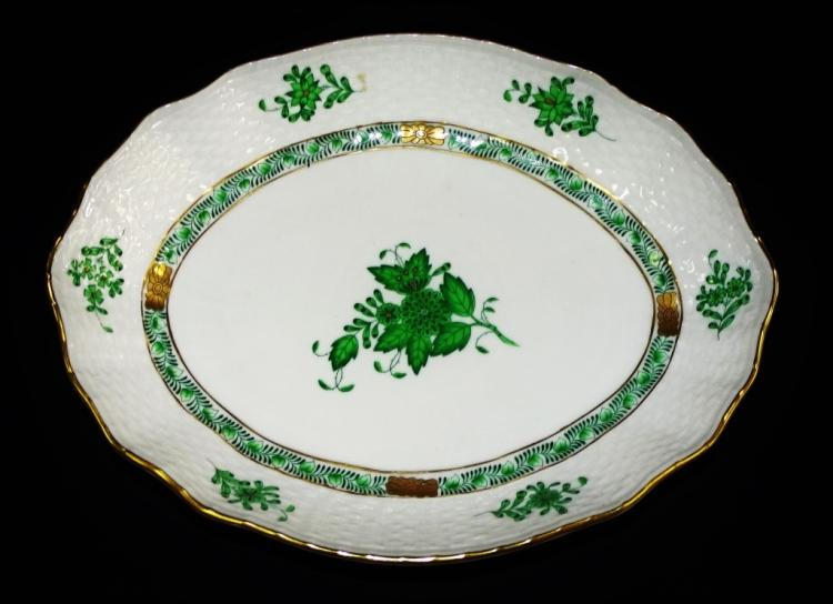 HEREND CHINESE BOUQUET GREEN VEGETABLE BOWL
