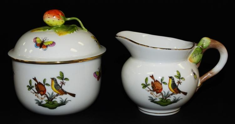 2PC HEREND HUNGARY ROTHSCHILD BIRD CHINA