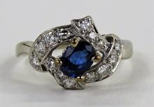 LADIES 14KT WHITE GOLD SAPPHIRE & DIAMOND RING