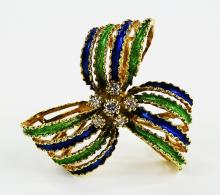 LADIES VTG 14KT YG ENAMELED DIAMOND BOW BROOCH