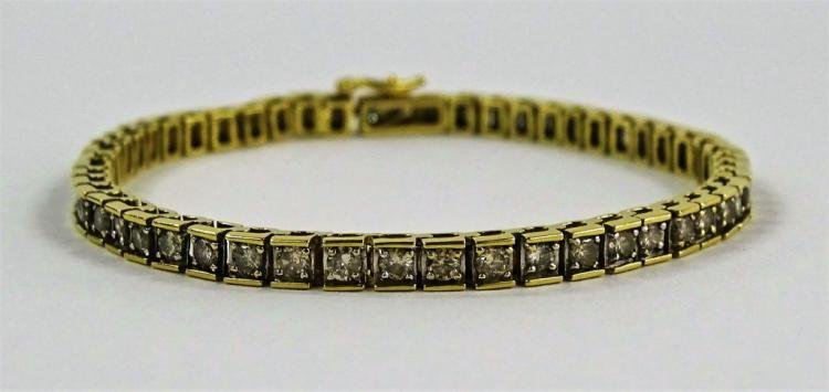LADIES 14KT YELLOW GOLD DIAMOND TENNIS BRACELET