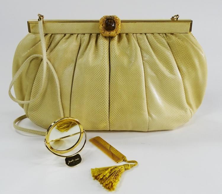 VINTAGE WOMAN'S JUDITH LEIBER SNAKESKIN HAND BAG