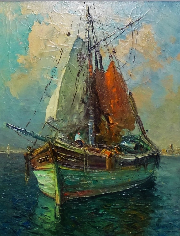 OIL ON CANVAS PORT OF MARSEILLE SIGNED A.DEMARTA