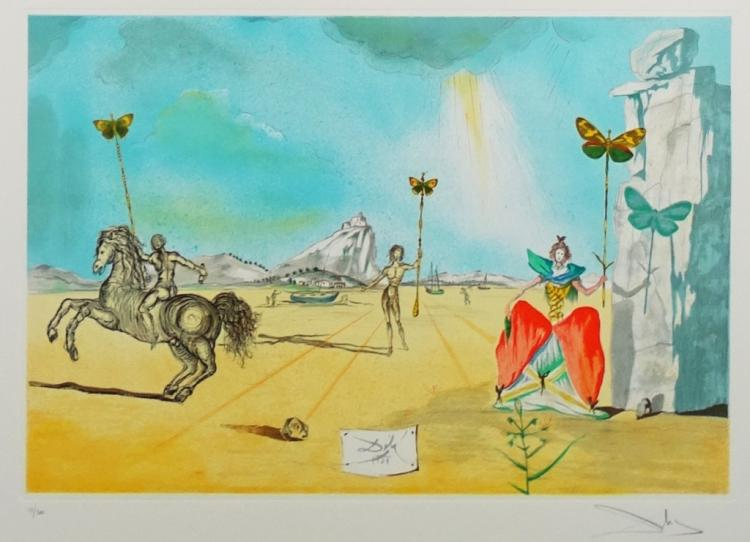 DALI COLORED LITHOGRAPH BUTTERFLIES IN THE DESERT