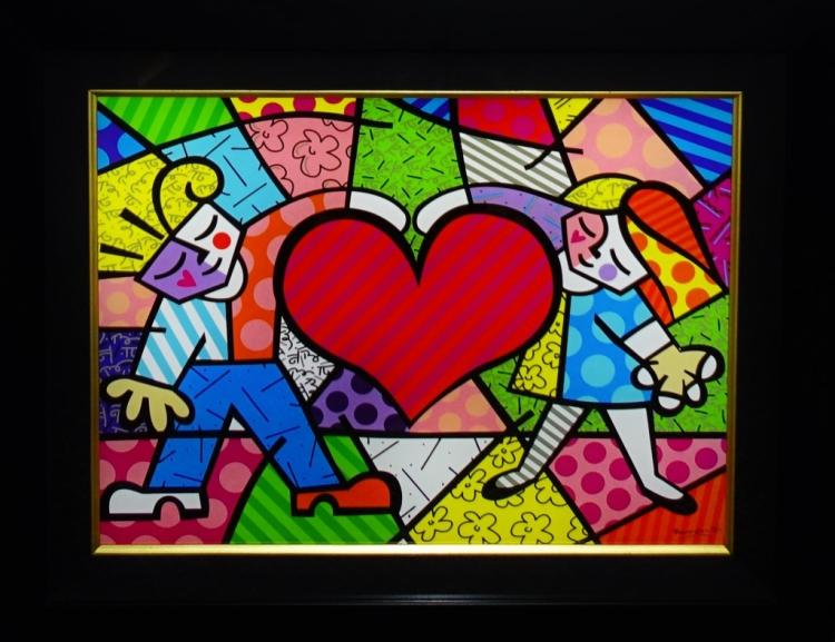 ROMERO BRITTO LITHOGRAPHIC PRINT 'HEART KIDS'