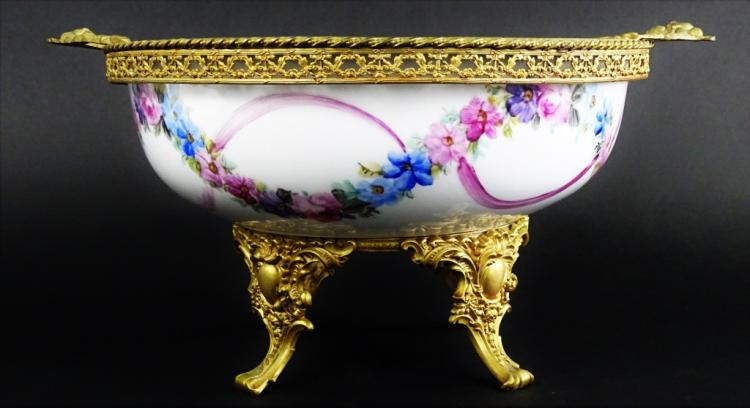 HAND PAINTED LIMOGES BRASS MOUNTED PORCELAIN BOWL