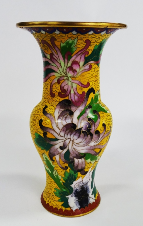 VINTAGE CHINESE CLOISONNE YELLOW VASE