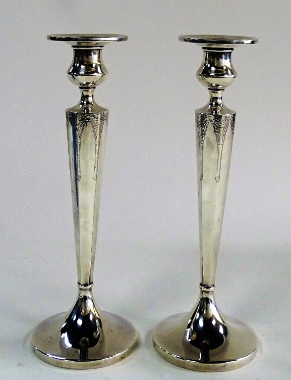 PR OF AMERICAN STERLING SILVER CANDLESTICKS